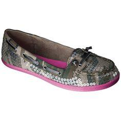 Women's Xhilaration Tonia Sequined Boat Shoes - Camo/Pink