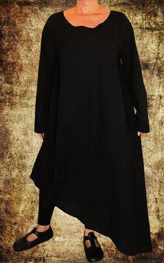 LAGENLOOK BAGGY Asymmetrisch KLEID LONG TUNIKA 44 46 48 Leinen SCHWARZ Kaftan in Kleidung & Accessoires, Damenmode, Kleider | eBay