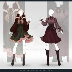(CLOSED) Adoptable Outfit Auction by JawitReen on DeviantArt Source by arwenmassaro outfit Dress Drawing, Drawing Clothes, Fashion Design Drawings, Fashion Sketches, Anime Outfits, Cool Outfits, Anime Dress, Fantasy Dress, Fantasy Outfits