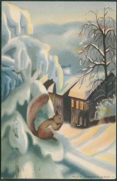 Julekort Milly Heegaard Utg Mittet. Ekorn ser på hus. Postgått 1943