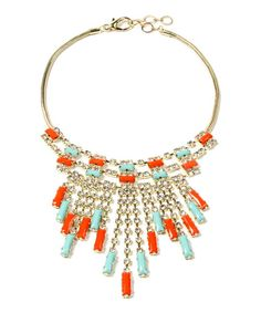 This Amrita Singh Turquoise & Coral Soho Color Block Bib Necklace by Amrita Singh is perfect! #zulilyfinds