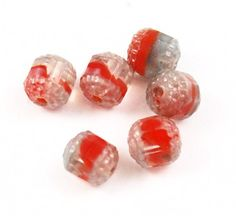 Rare cathedral beads red givre glass - 6 beads Vintage
