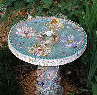 Mosaic Birdbath. Nice!