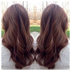 Hilight on dark hair. Soft curls on warm brown hair. Great for Fall!: