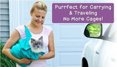Purrfect Pouch is the comfy cat carrier and grooming sack in one. It instantly creates a safe haven, keeping your kitty calm and comfortable. Cat Carrier, Animal Projects, Pet Care, Pouch, Kitty, Tv, Dogs, Animals, Dog Stuff