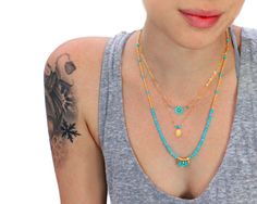 Hey, I found this really awesome Etsy listing at http://www.etsy.com/listing/85348957/sale-3-layer-necklace-jubjub-turquoise