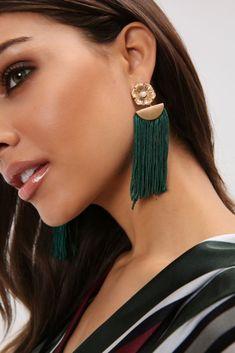 Green Metal Shape Tassel Earrings