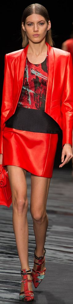 J. Mendel Spring 2015 Ready-to-Wear (Taylor wore the peplum black and red patterned top and red leather skirt)