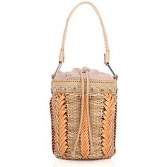 Camel/Orange Woven Leather Bucket Bag