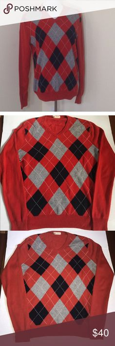 J. Crew Cotton Cashmere Argyle Sweater Small Mens Men's J. Crew Cotton Cashmere Forestdale Orange Navy Gray V-Neck Sweater. Gorgeous. Makes a perfect fit. Size small. Preowned in excellent condition- no pulls or snags. J. Crew Sweaters V-Neck