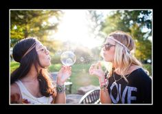 BFF photoshoot! Bubbles, flowers, and two carefree girls! Love!
