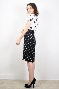 Vintage Polka Dot Skirt High Waisted Skirt by ShopTwitchVintage
