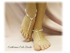 Pearl beaded Bridal Barefoot sandals  beach wedding summer slave sandals foot jewelry beachwea