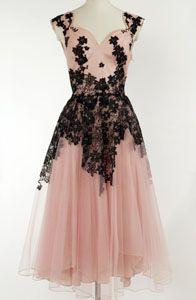50's pale pink black floral applique wedding dress -- gorgeous!