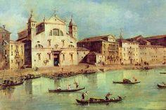 Francesco Guardi  (1712-1793, Italy) | Il Canale Grande (Venezia, Chiesa di S. Lucia)