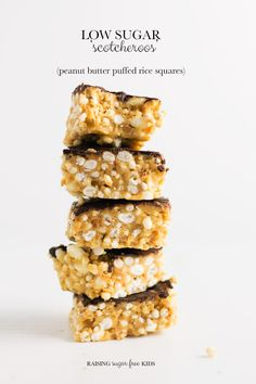 Low Sugar Scotcheroos Peanut Butter Puffed Rice S Healthy Vegan Snacks, Vegan Desserts, Vegan Sweets, Vegan Foods, Healthy Eating, Scotcheroos Recipe, Rice Bar, Low Carb Protein Bars, Peanut Butter
