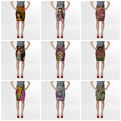 art illustrated skirts by eltsamp on Etsy
