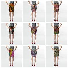 art illustrated skirts by eltsamp on Etsy
