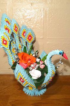 3D origami Peacockbasket