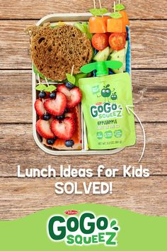 Pack the perfect school lunch with nutritious and delicious GoGo squeeZ pouches! Kids Packed Lunch, Kids Lunch For School, Healthy Lunches For Kids, Lunch Snacks, Kids Meals, Lunch Box, Kid Lunches, Kid Snacks, Bento Box