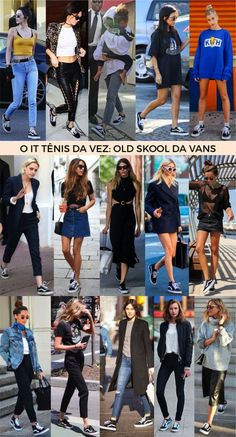 O modelo old school Vans tem cara de esportivo, mas orna muito bem com qualquer look até mesmo mais fashionista. Acima tem 15 boas ideias que comprovam a tese que tênis preto é uma opção menos óbvio que a versão branca.