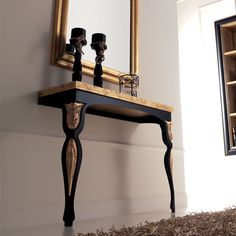 The Italian designer 2 leg wall mounted console table at Juliette's Interiors, a statement for any room in the house. part of a large collection of luxurious designer furniture. Gold Leaf Furniture, Funky Furniture, Luxury Furniture, Mesa Sofa, Drawing Room Furniture, Wooden Console Table, Room Partition Designs, Living Room Mirrors, Decoration