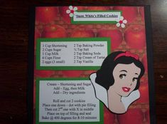 Snow White`s Filled Cookies recipe Disney Recipe by tillymae - Cards and Paper Crafts at Splitcoaststampers Retro Recipes, Old Recipes, Vintage Recipes, Cookie Recipes, Disney Dishes, Disney Desserts, Disney Recipes, Disney Inspired Food, Disney Food
