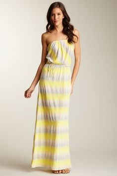 Printed Strapless Maxi Dress -- its screaming SUMMER at me through the monitor. (Loveappella)