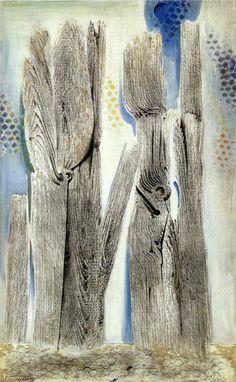 "artist-ernst: "" The Blue Forest, Max Ernst Size: cm Medium: oil, canvas"" Magritte, Art Kandinsky, Karl Hofer, Horst Janssen, Hans Thoma, George Grosz, Francis Picabia, Hermann Hesse, Blue Forest"