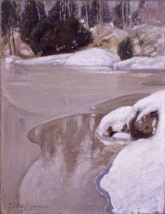 Kevättulva, 1916 Chur, Snow And Ice, Winter Trees, Landscape Art, Scandinavian, Landscapes, Artist, Painting, Outdoor