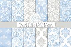 WINTER DAMASK digital paper by RoyalDigitalStore on Creative Market