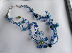 handcrafted crocheted beaded necklace blues and by terramor Beaded Necklace, Necklaces, Bracelets, Blues, Trending Outfits, Unique Jewelry, Handmade Gifts, Inspiration, Etsy