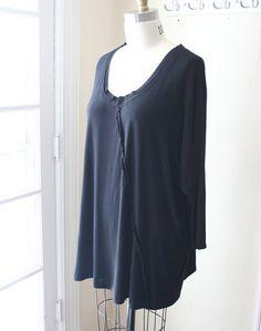 Asymmetric Layering Black Knit Jersey Shirt Plus Size on Etsy, $58.00