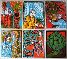 multi-coloured linoprints - set of 6