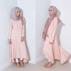 """""""Mulberry Midi Rose Quartz  Soft subtle colours for spring - Pair with Ombre Rose Chiffon Hijab  Pleated Cuff Trousers & Stole Coming Soon  #aabcollection…"""""""