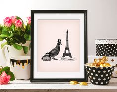 Antique Printable Bon Voyage French Paris Travel Pigeon Trunks 8x10 On the Pink Background & Bonus ClipArt DIGITAL INSTANT DOWNLOAD HQ300dpi by ZikkiArt on Etsy