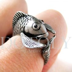 Miniature Fish Ring in Silver - Sizes 5 to 9 available