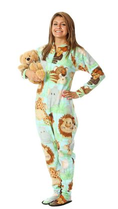 Baby Animals Adult Footed Pajama, I LOVE footed jammies