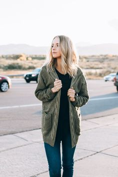 The Rawling Knit Cardigan in Olive