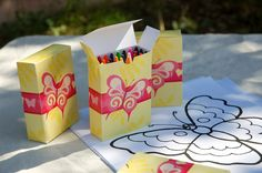 Custom coloring pages — with covered-crayon boxes — were just one of the activities planned for the lil guests. Source: Tradewind Tiaras