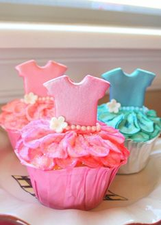 Tutu cupcakes for a two year old birthday. The onsie  cookie cutter was used on fondant.
