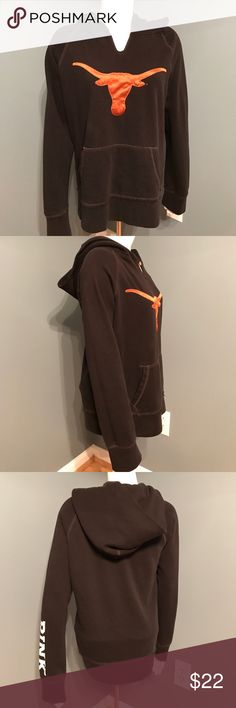 PINK Victoria's Secret Texas Longhorn UT Hoodie PINK collegiate collection. 5th and ocean collaboration. Black hoodie. Size medium. Sleeve says pink in white lettering. Front has a satin embroidered long horn. PINK Victoria's Secret Tops Sweatshirts & Hoodies