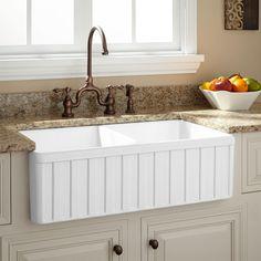 "33"" Reinhard Double-Bowl Fireclay Farmhouse Sink - Farmhouse Sinks - Kitchen Sinks - Kitchen"