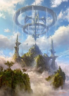 For fantasy and sci-fi art featuring heavenly cities and islands that float among the clouds, the sky-faring vessels used to travel between them,. Fantasy Artwork, Fantasy Art Landscapes, Fantasy Concept Art, Fantasy Landscape, Landscape Art, Fantasy Magic, Fantasy City, Fantasy Castle, Fantasy Places