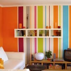 more striped walls Kids Bedroom, Bedroom Decor, Wall Decor, Stripped Wall, Rainbow House, Striped Room, Kids Room Paint, My Ideal Home, Striped Wallpaper