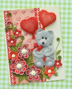 100% Handcrafted - 11.5 cm х 15 cm sized card, this cute Valentines Day greeting card with sweet little bear will be a one-of-a-kind design that will be sure to stand out! This greeting card also will emphasize particular individual attitude. This card is made to touch your beloveds heart! - Has blank white liner inside for your own sentiments. Suitable for any special occasion. - Item is packed with extra, extra care, Package: cellophane envelope, shipping in bubble wrap cover ~Thank you…