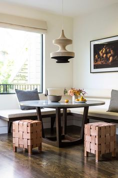 Looking for Living Space and Dining Room ideas? Browse Living Space and Dining Room images for decor, layout, furniture, and storage inspiration from HGTV. Dining Nook, Round Dining Table, Dining Room Design, Round Tables, Dining Corner, Design Kitchen, Vaulted Ceiling Kitchen, Vaulted Ceilings, Table Bar