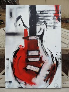 Guitar Painting Red White & Black Abstract por heatherdaypaintings