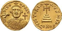 CoinArchives.com ANCIENT COINS, BYZANTINE, Leontius (AD 695-698). Gold Solidus, 4.27g, Constantinople. D LEO-N PE AV, crowned bust of Leontius facing, wearing loros, holding akakia and globus cruciger. Rev. VICTORIA AVGX, cross potent set on three steps, A//CONOB. (cf DOC 2 (officina not recorded); MIB 2; SB 1331). A couple of small scratches in fields, great style, superb extremely fine. From The Alexander White III