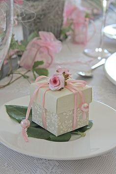 Decorated wedding favor box.